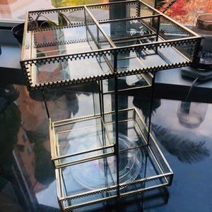 Gold trimmed, transparent vanity organizer